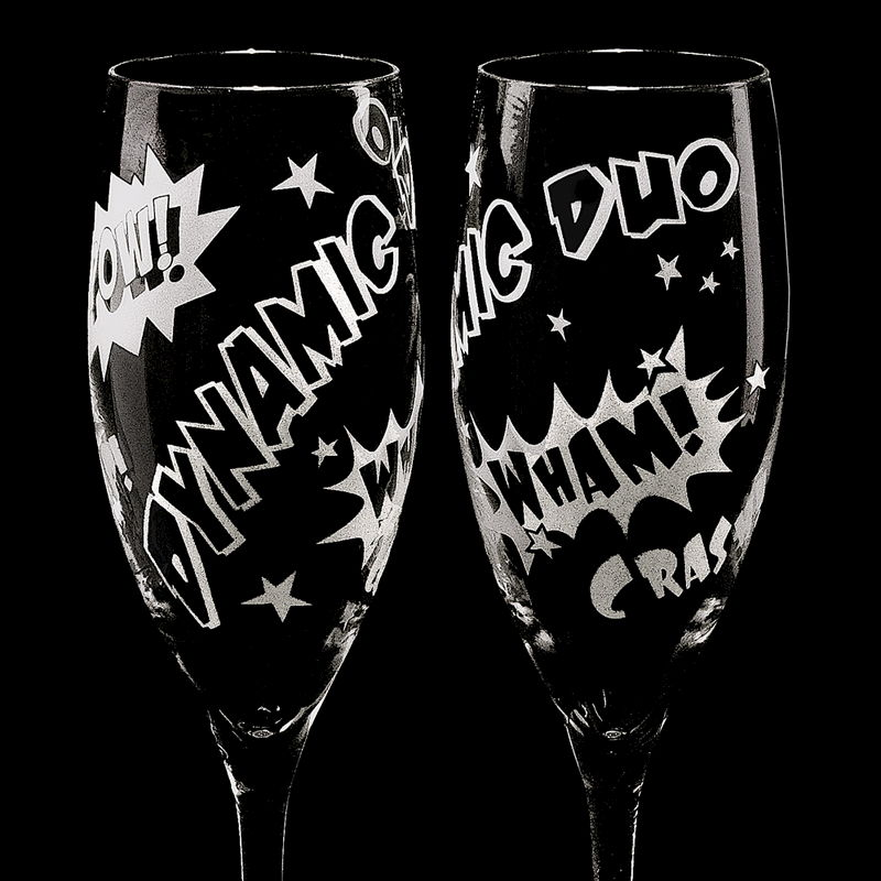 2 Superhero Wedding Champagne Flutes, Unique Champagne Flutes for Comic Book Themed Wedding - product images  of