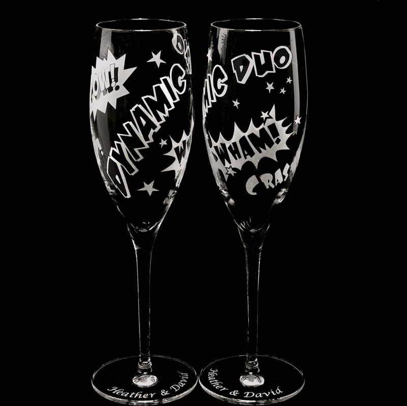 2 superhero wedding champagne flutes unique champagne flutes for comic book themed wedding - Unusual champagne flutes ...