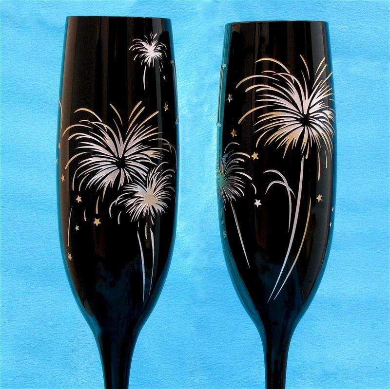 Midnight Black Champagne Flutes, Fireworks themed for New Year's Eve Wedding - product images  of