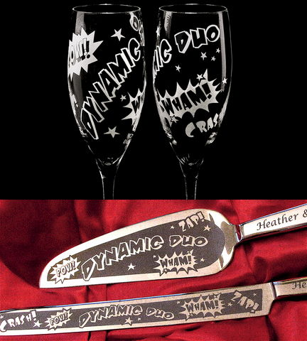 Superhero,Wedding,Set,,Personalized,Champagne,Flutes,&,Cake,Server,and,Knife,Weddings,personalized,engraved,champagne_flutes,toasting_flutes,cake_server_set,Wedding_cake_server,Engraved_wedding,Engraved_cake_server, superhero wedding, super hero wedding set, brad goodell, the wedding gallery