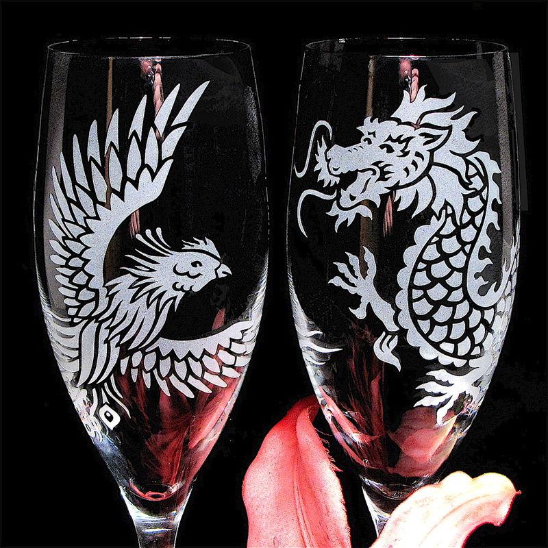Dragon Phoenix Wedding Champagne Flutes Chinese Symbol For
