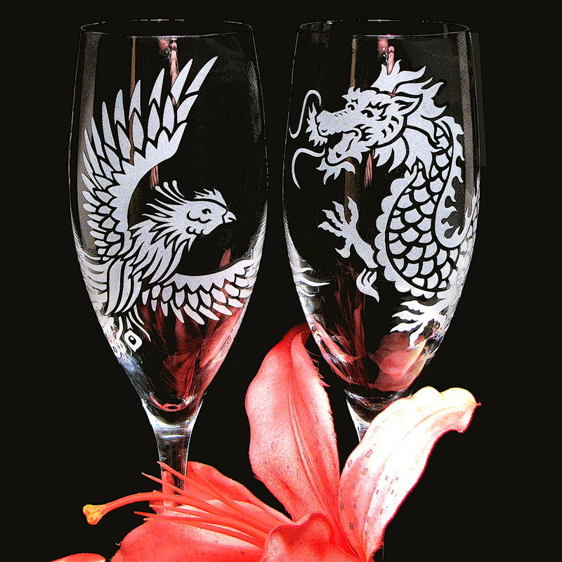 Dragon & Phoenix Wedding Champagne Flutes, Chinese Symbol for Marriage Harmony, Wedding Toast Glasses - product images  of