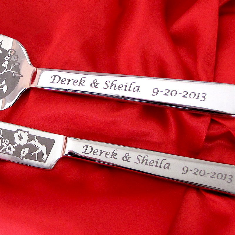 Personalized Engraved Dove Heart Wedding Cake Server and Knife Set - product images  of