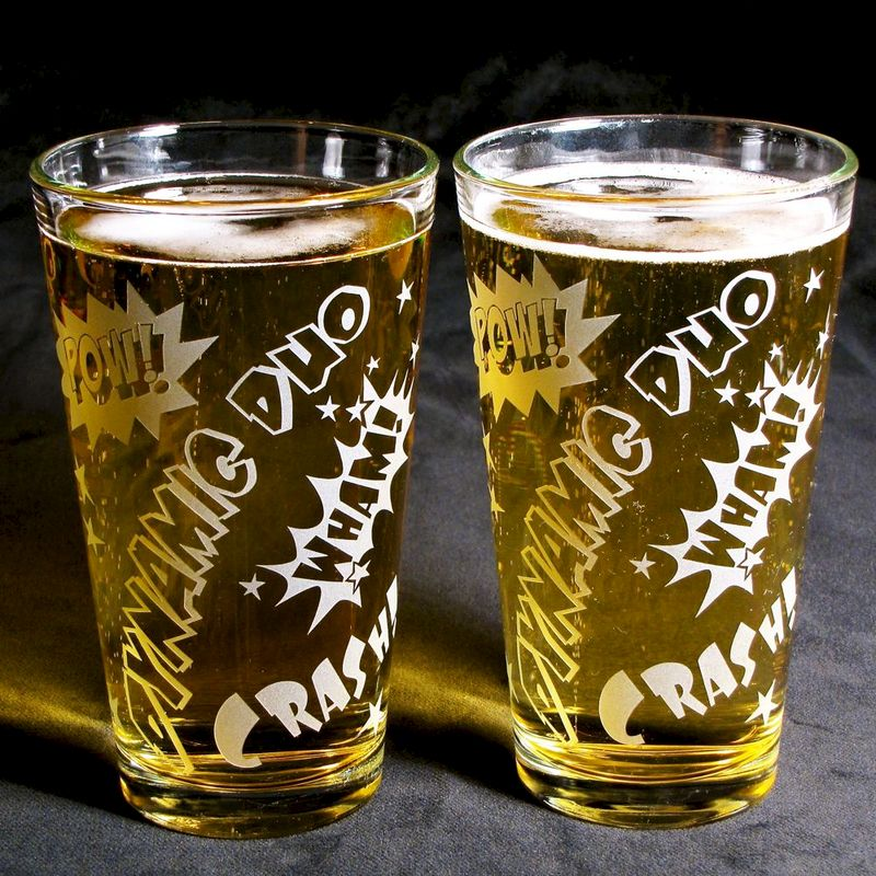 2 Comic Book Superhero Pint Glasses, Groomsmen Gifts - product images  of