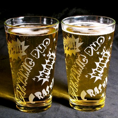2,Comic,Book,Superhero,Pint,Glasses,,Groomsmen,Gifts,Comic Book, Superhero, super hero, dynamic duo, wedding glasses, etched glass, pint glass, beer glass, 2, groomsmen gifts