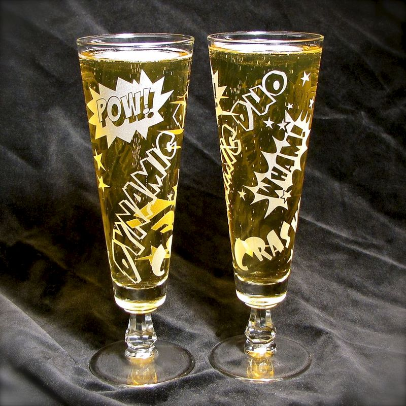 Dynamic Duo Beer Flutes, Comic Book Superhero Wedding Glasses, Toasting Glasses - product images  of