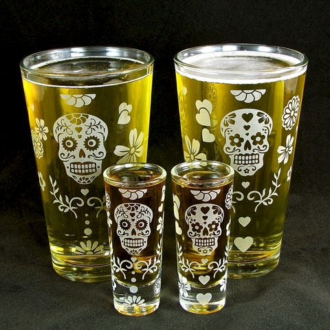2,Sets,of,Sugar,Skull,Pint,Glasses,&,Shot,Glasses,,Groomsmen,Gifts,shot glasses, shot glass, skull, sugar skull, pint glass, beer glass, 2, dia de los muertos, day of the dead, dia de muertos