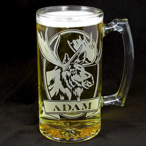 Personalized,Moose,Beer,Stein,,Etched,Glass,,Gifts,for,Groomsmen,personalized gifts, Personalized Beer stein, beer mug, deer, mule deer, etched glass, gift for groomsmen, groomsmen gift, beer glass
