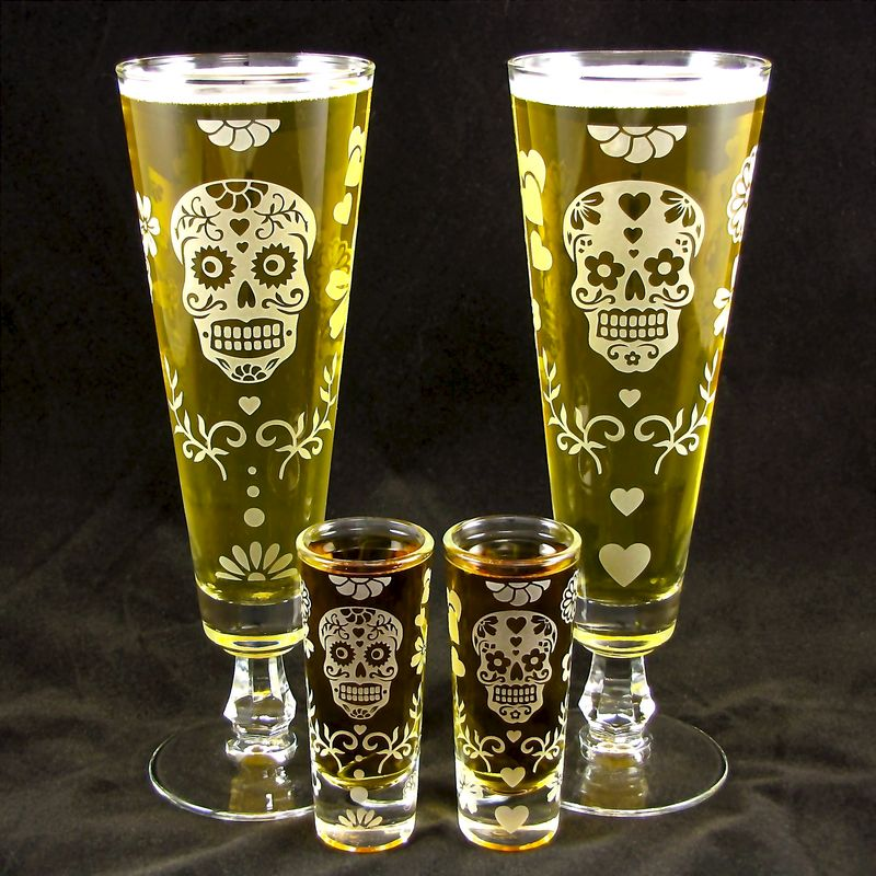 Day of the Dead Beer Flute, Shot Glass Set, Calavera Wedding - product images  of