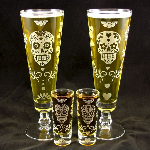Day,of,the,Dead,Beer,Flute,,Shot,Glass,Set,,Calavera,Wedding,shot glasses, sugar skull, pilsner flutes, beer flutes, fluted pilsner, day of the dead wedding, dia de los muertos wedding, beer glass, personalized wedding glass, skull wedding