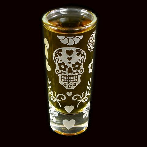 Dia,De,Los,Muertos,Shot,Glass,,Sugar,Skull,day of the dead, Shot Glasses, Dia De Los Muertos, groomsmen gift ideas, sugar skull wedding, bradgoodell, brad goodell, the wedding gallery