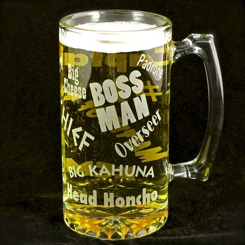 Boss,Man,Beer,Stein,,Gift,for,Man,,Bosses,Day,,Husband,or,Dad,,Cave,Beer stein, beer mug,  etched glass,  beer glass, gift for boss, gift for man, gift for husband, father, man cave
