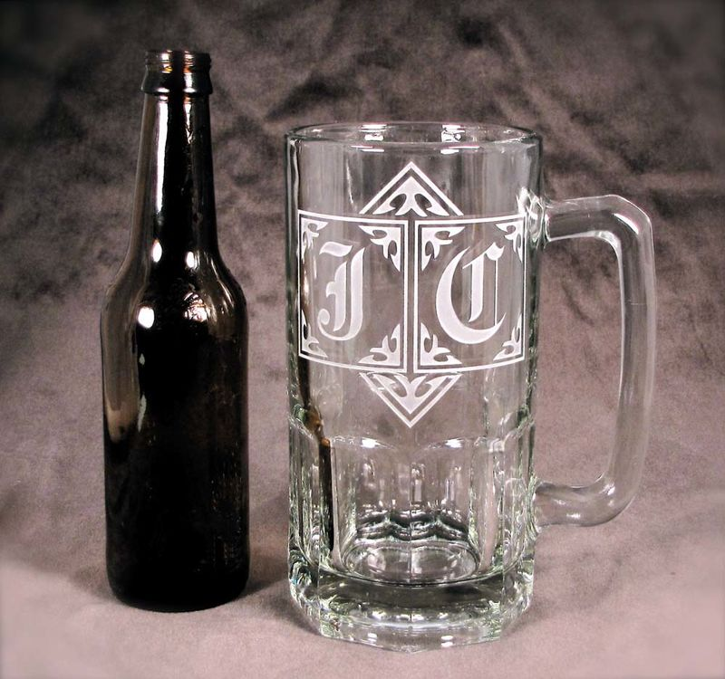 4 Giant 1 Liter Beer Steins, Monogrammed Gifts for Groomsmen, Wedding Party - product images  of