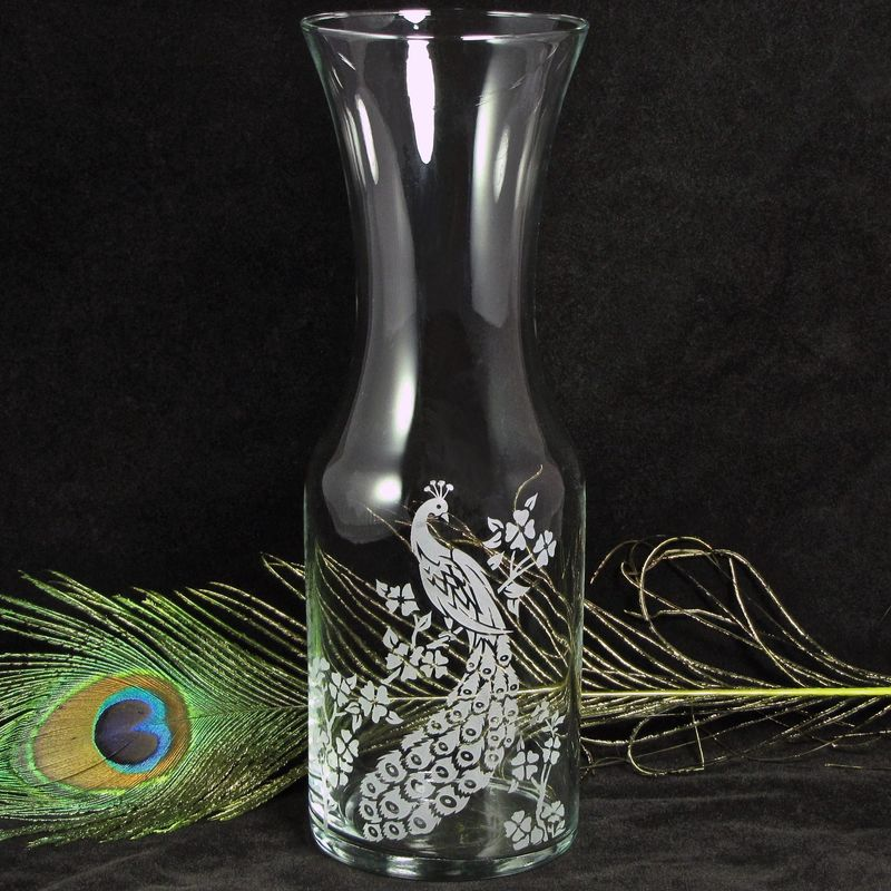 Peacock Wine Carafe Vase For Decor Or Unity Ceremony For Weddings