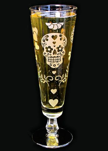 Day,of,the,Dead,Fluted,Beer,Glass,,Calavera,Decor,sugar skull, pilsner flutes, beer flutes, fluted pilsner, day of the dead wedding, dia de los muertos wedding, beer glass, personalized wedding glass, skull wedding