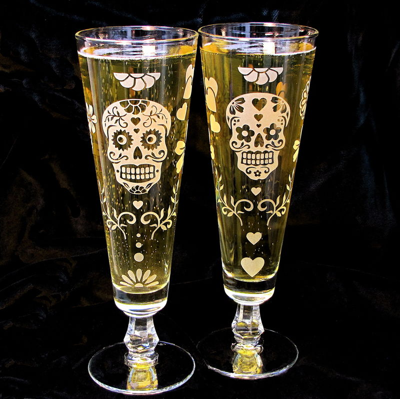 Day of the Dead Fluted Beer Glass, Calavera Decor - product images  of