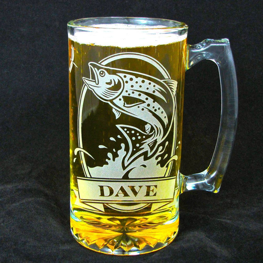 1 personalized fish beer mug etched glass trout for Fish and beer