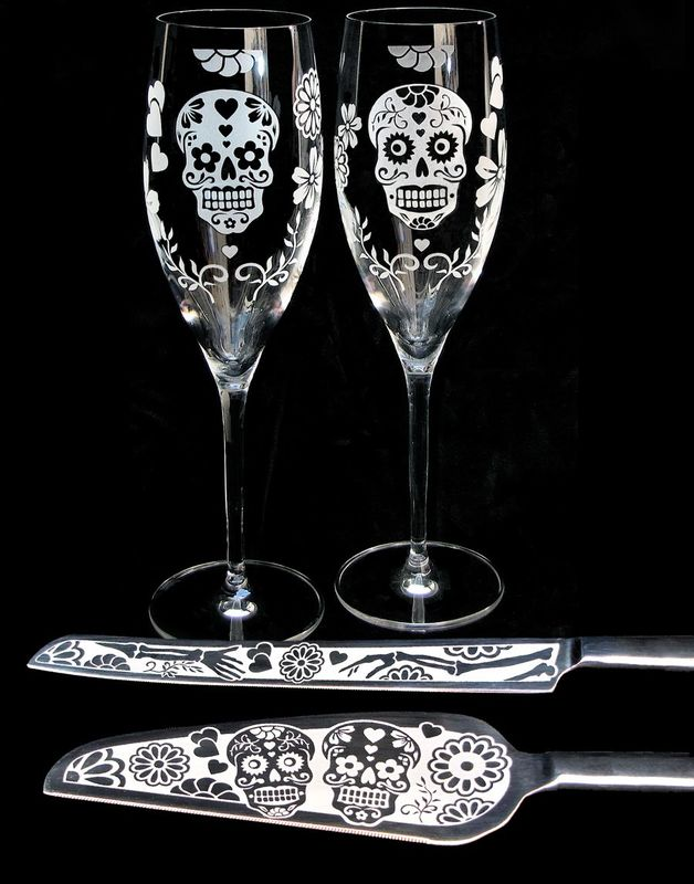 Day of the Dead Wedding Cake Server Set and Champagne Flutes, Dia De Los Muertos Wedding, Sugar Skull Decor - product images  of