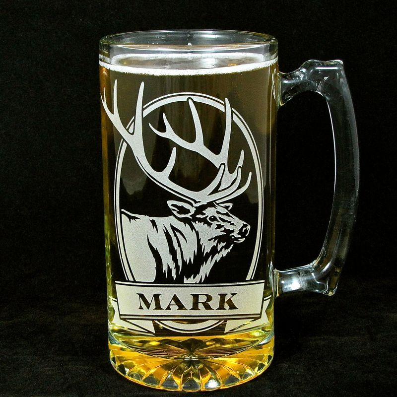 personalized moose beer stein  etched glass  gifts for groomsmen