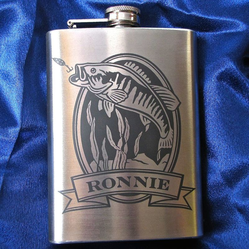 Personalized Hip Flask with Bass, Engraved Gift for Man, Gift for Groomsman or Angler - product images  of