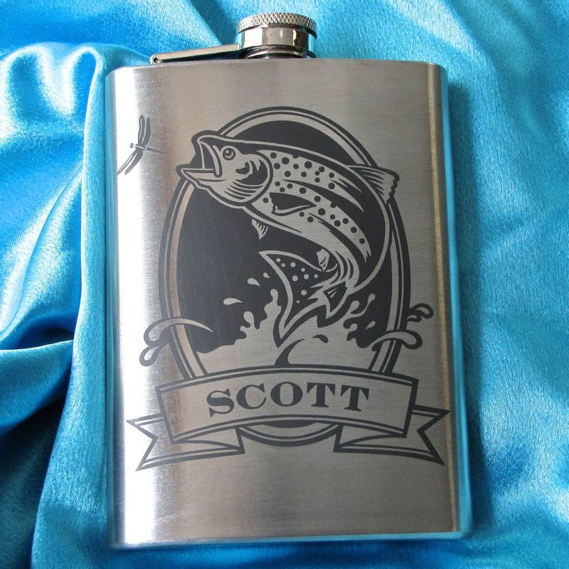 personalized hip flask with bass  engraved gift for man  gift for groomsman or angler