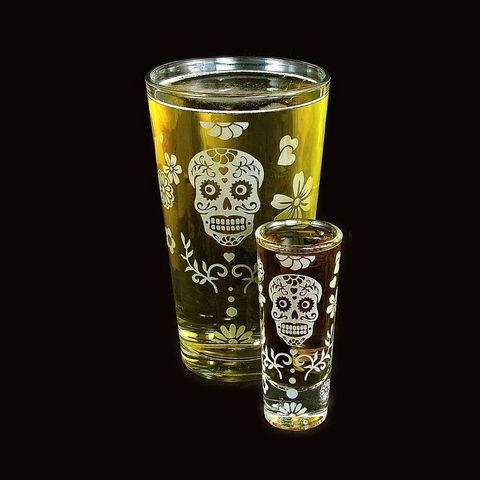 Halloween,Beer,Glass,Shot,Set,,Dia,De,Muertos,Drinking,Set,shot glasses, shot glass, skull, sugar skull, pint glass, beer glass, 2, dia de los muertos, day of the dead, dia de muertos