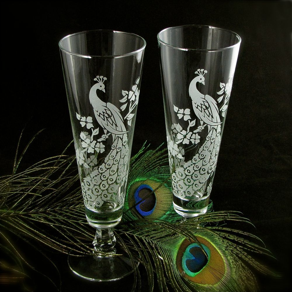 Peacock wedding decor personalized toasting flutes etched glass fluted pilsners the wedding - Fluted wine glasses ...