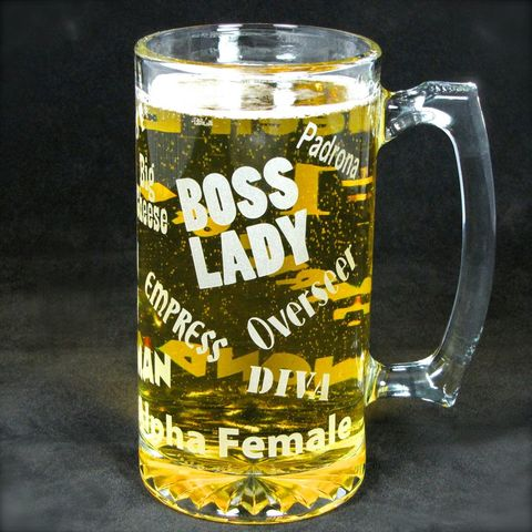 Boss,Lady,Beer,Stein,,Gift,for,Woman,,Boss,,Wife,or,Mom,Beer stein, beer mug,  etched glass,  beer glass, gift for boss, gift for woman, mom, wife, boss lady