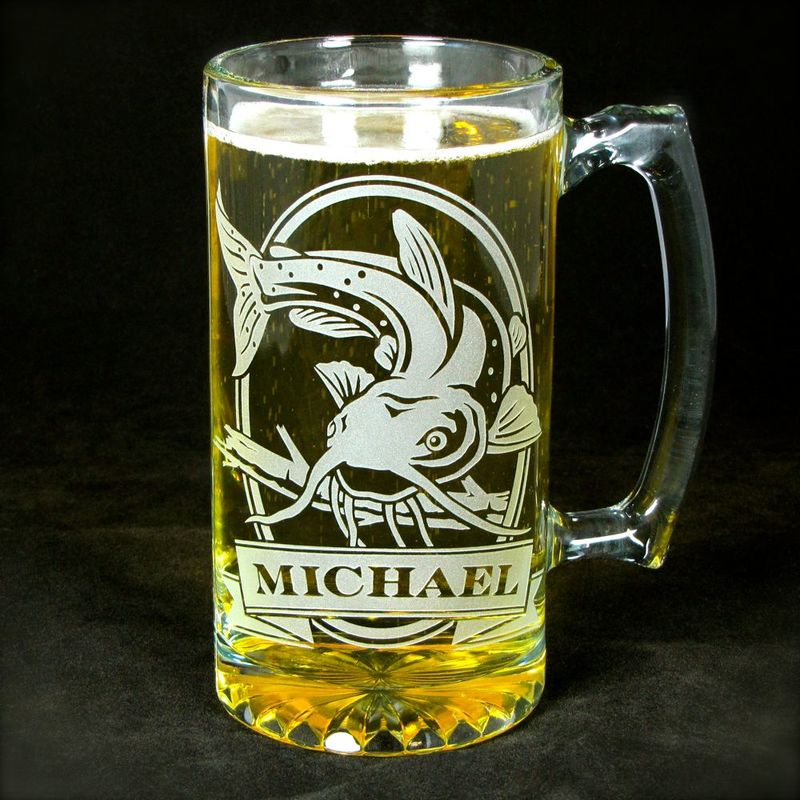 1 Personalized Fish Beer Stein, Etched Glass Smallmouth Bass, Groomsmen Gifts - product images  of
