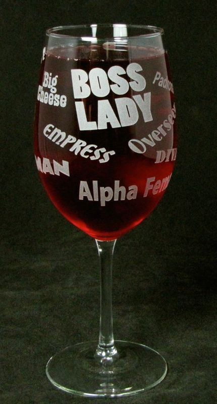 Boss Lady Wine Glass, Gift for Woman, Boss, Wife or Mom - product images  of