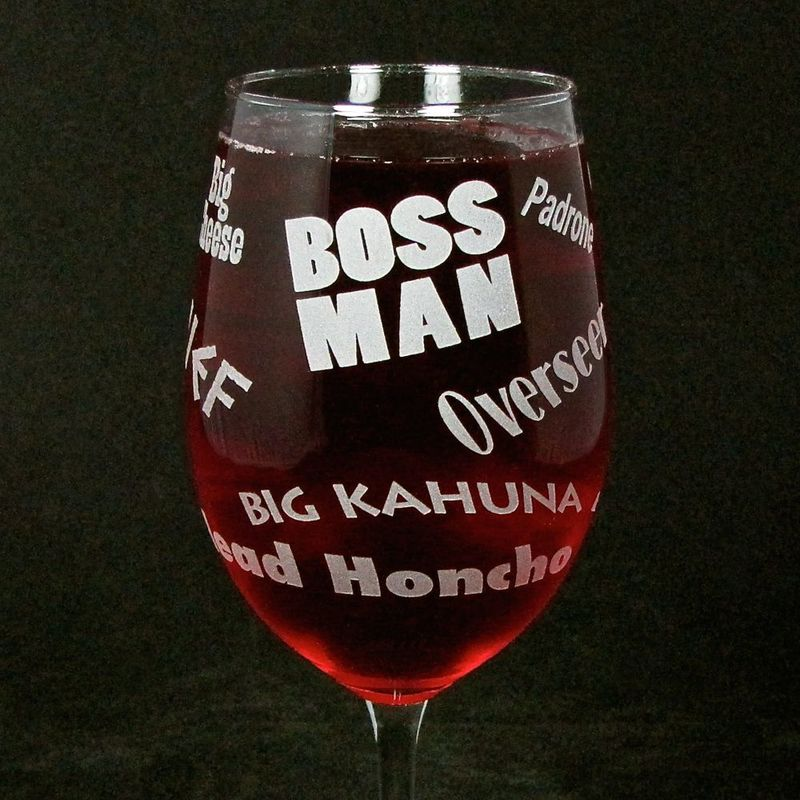 Boss Man Wine Glass, Gift for Man, Boss, Husband, or Dad for Father's Day - product images  of