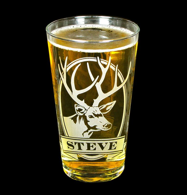 1 Personalized Beer Glass with Deer, Etched Glass Pint Glass Gift for Man - product images  of