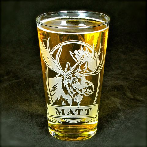 1,Personalized,Moose,Beer,Glass,,Etched,Glass,Pint,Gift,for,Man,Deer, elk, moose, beer glass, personalized, pint glass, etched glass, engraved gift, gift for man, gift for husband, boyfriend, father, dad