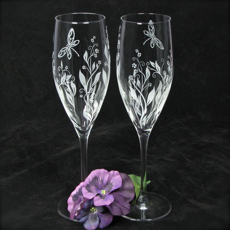 Dragonfly and Vine Champagne Flutes with Personalization, Wedding Gift for Couple - product images  of