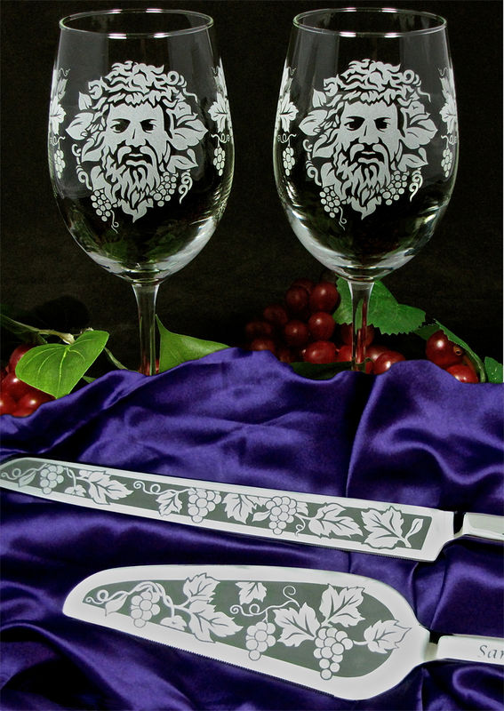 Wine Lovers Wedding Set, Personalized Wine Glasses, Cake Server and Knife with Bacchus Dionysus - product images  of