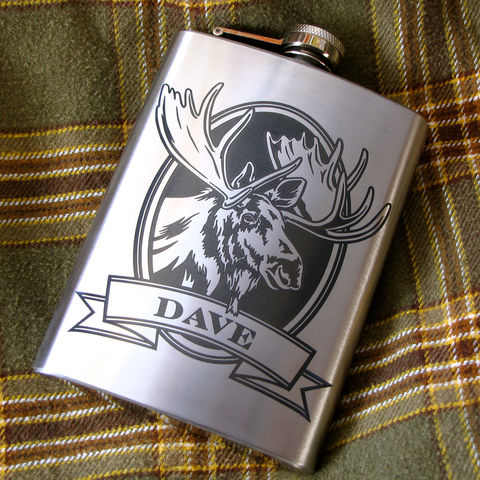 Personalized,Moose,Hip,Flask,,Gift,for,Man,,Dad,,husband,,boyfriend,Personalized Hip Flask with moose, bass, trout, fish Engraved Gift for Man, Gift for Groomsman, gift for man, dad, fathers day