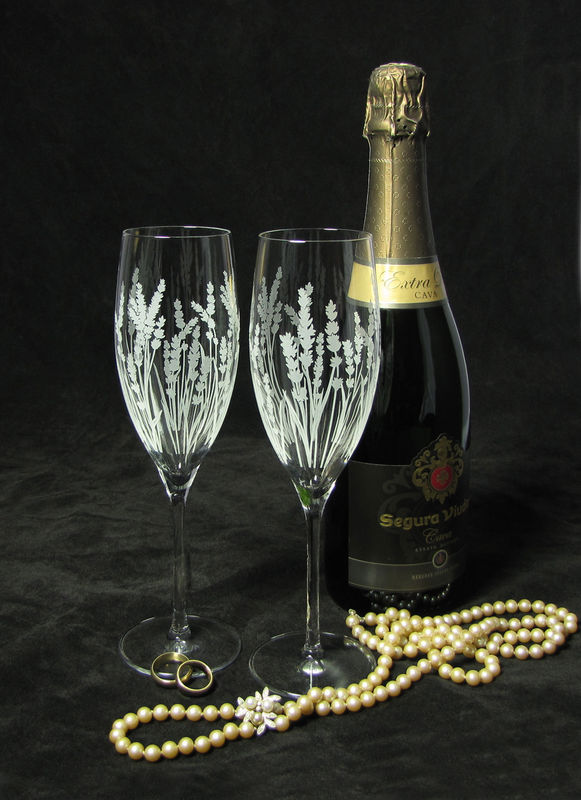 2 Personalized Champagne Glasses, Lavender Wedding Gift for Bride and Groom - product images  of