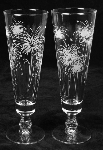 Fireworks Wedding Decor, Personalized Toasting Flutes, Etched Glass Gift for Couple - product images  of