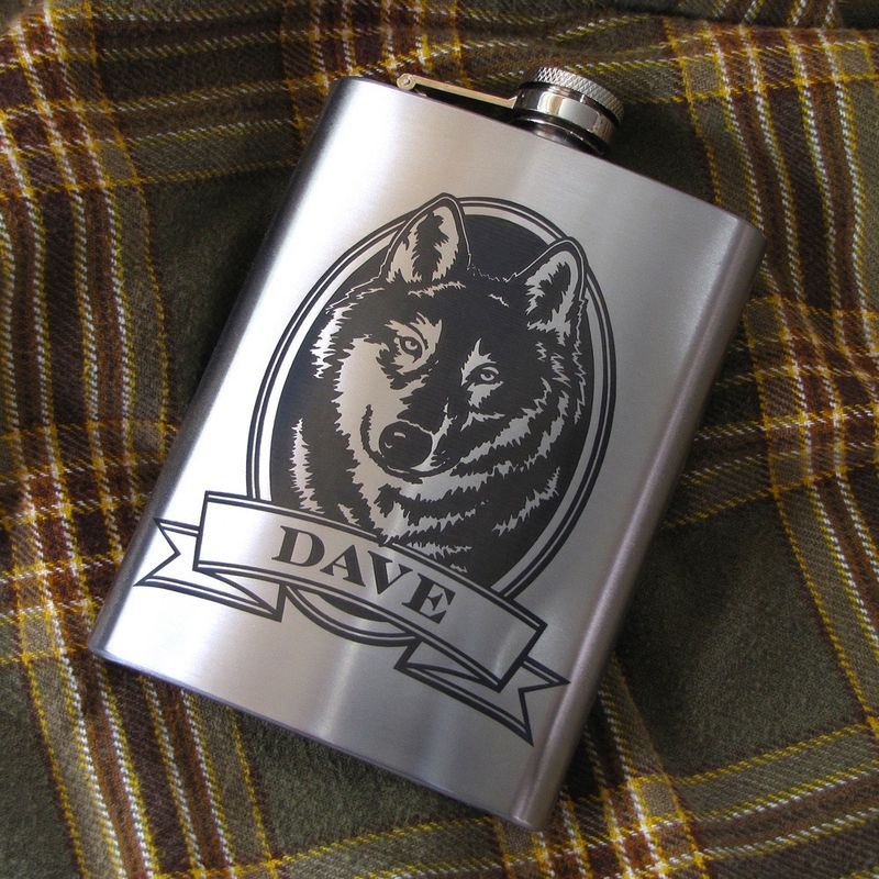 Personalized Wolf Hip Flask, Gift Idea for Man, Birthday Present for Men - product images  of
