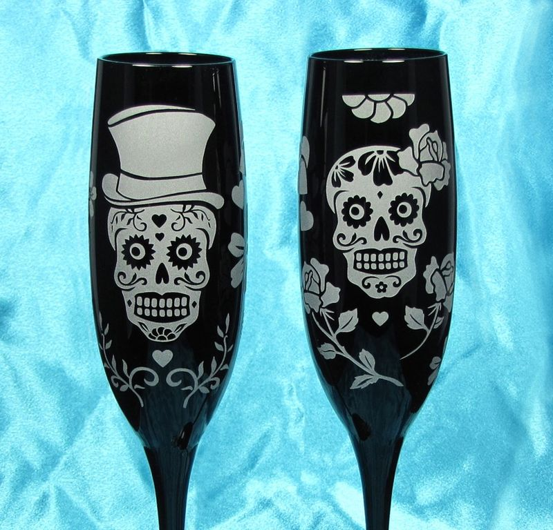 2 Black Dia De Muertos Champagne Flutes, Personalized Suger Skull Wedding Reception Decorations - product images  of