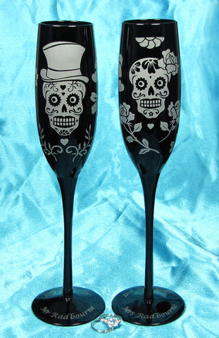 2,Black,Dia,De,Muertos,Champagne,Flutes,,Personalized,Suger,Skull,Wedding,Reception,Decorations,wedding toast flutes, brad goodell, Glass,Glassware,Champagne_Flute, etched glass, Black Day of the Dead Champagne Glasses, Personalized Suger Skull Wedding Decor, Calavera