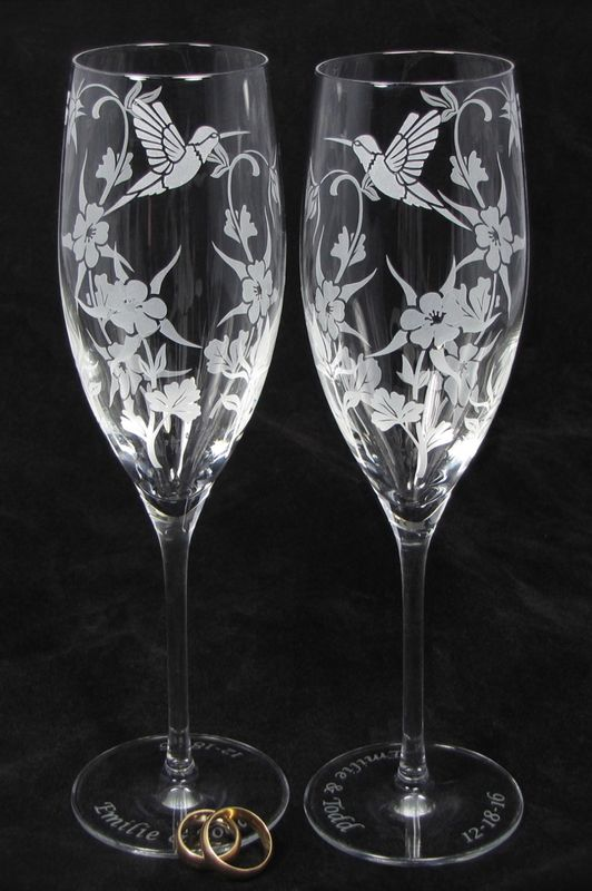 NEW Hummingbird Columbine Champagne Glasses, Wedding Gift for Bride and Groom - product images  of