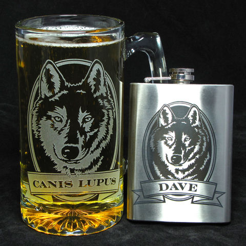Personalized,Wolf,Beer,Mug,and,Flask,Set,,Present,for,Outdoorsmen,,Lover,personalized gifts, Personalized Beer stein, beer mug, wolf, etched glass, gift for groomsmen, groomsmen gift, beer glass