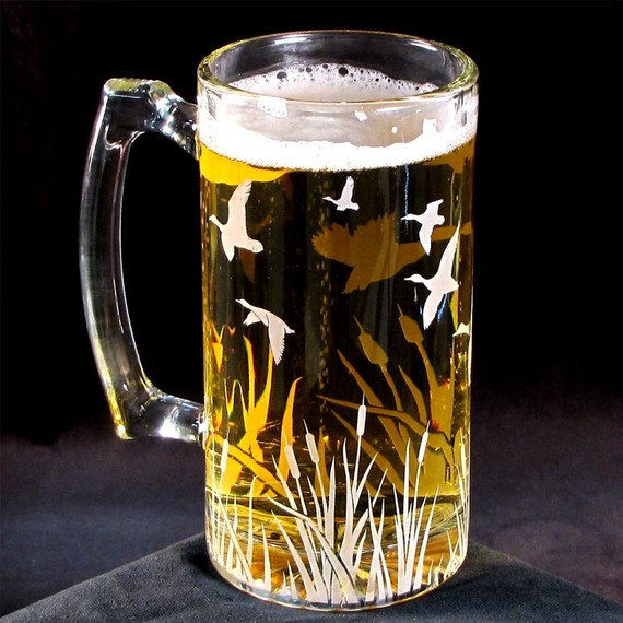etched glass beer mug  duck migration  gifts for groomsman  best man gift