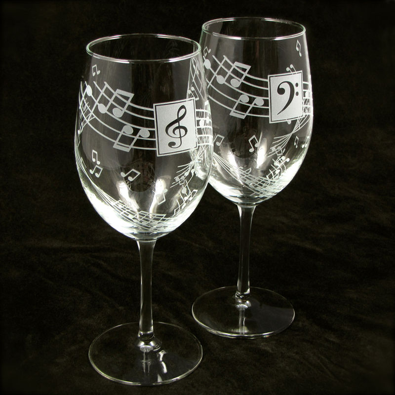 Music Wine Glasses Personalized Gift For Music Lover