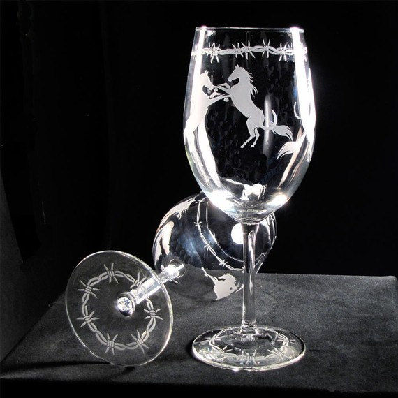 2 Horse Wine Glasses, Etched Glass Wine Glasses with Horseshoes, Barbed Wire - product images  of
