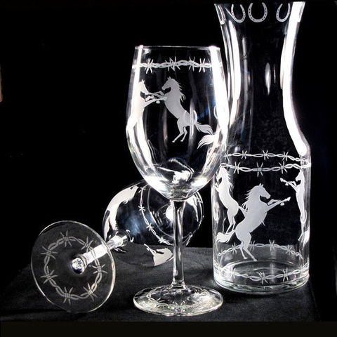 Wine,Glass,and,Carafe,Set,,Horse,Lover,Glasses,&,with,Barbed,Wire,trim,Western wedding, cowboy wedding, etched glass,wine_glasses,wine_carafe,cowboys,horses,horseshoes,barbed_wire,western_wine_glasses,cowboy_wine_glasses,horse_wine_glass,barb_wire_wine_glass,wine_decanter,wine_glass