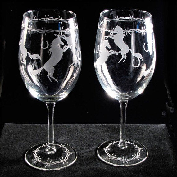 Wine Glass and Wine Carafe Set, Horse Lover Wine Glasses & Carafe with Barbed Wire trim - product images  of