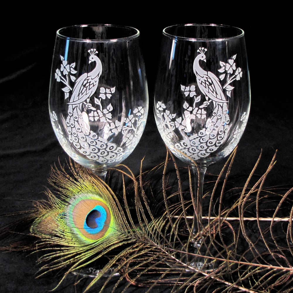 Peacock wine glasses etched glass decor