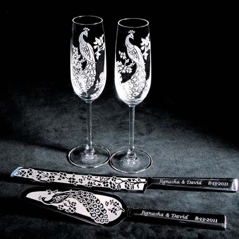 peacock wedding cake server and knife champagne flute set personalized and engraved the. Black Bedroom Furniture Sets. Home Design Ideas